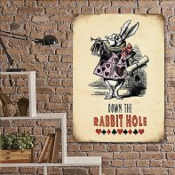 'Down The Rabbit Hole' Alice in Wonderland Vintage Themed Metal Sign